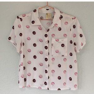 Japna M donut 🍩 print button shirt blouse cropped